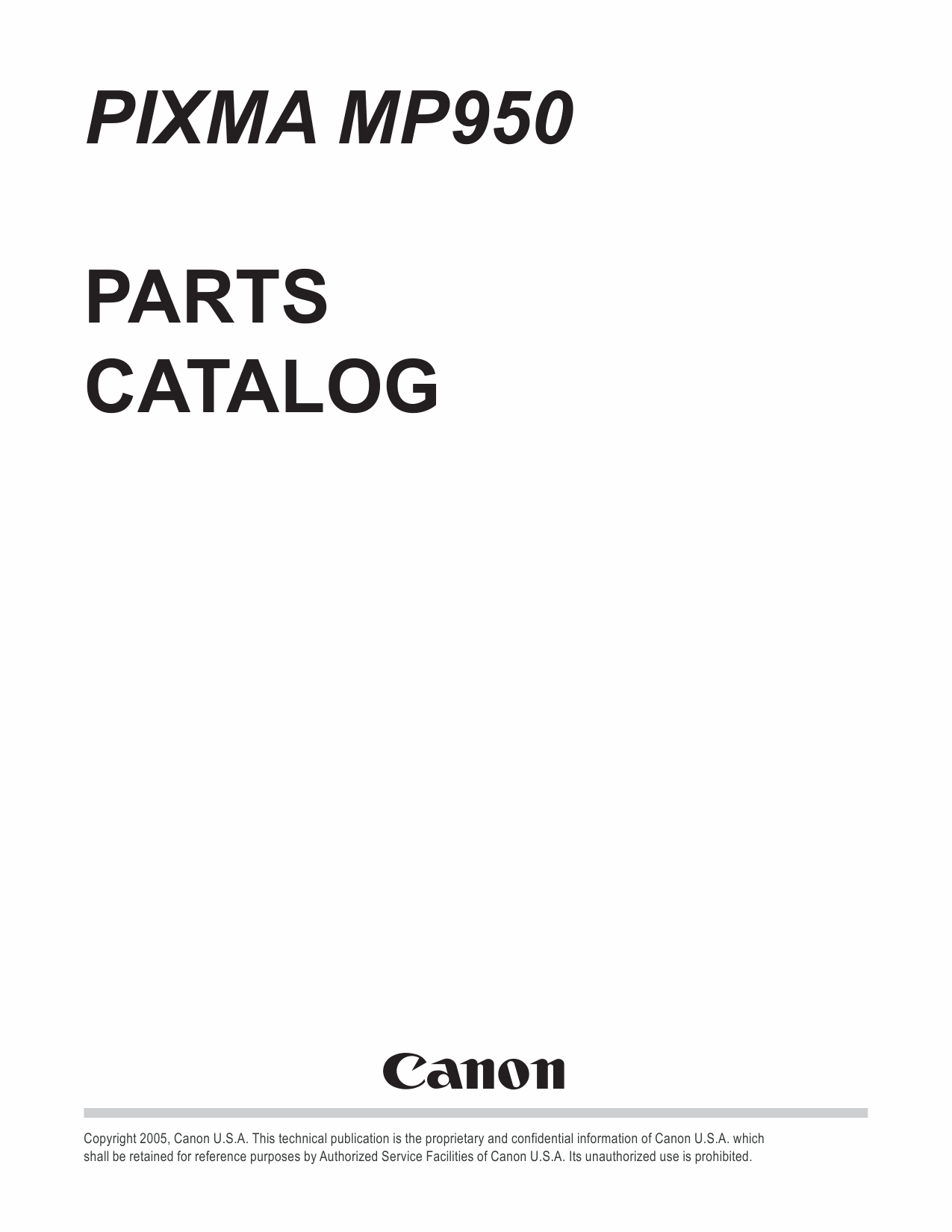 Canon PIXMA MP950 Parts Catalog
